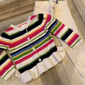 glitter jean 3t & striped sweater 2t